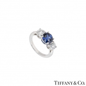 Tiffany & Co. Three Stone Diamond and Sapphire Platinum Ring